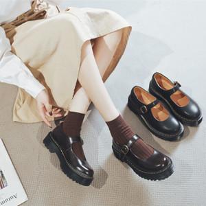 Boussac punta rotonda della piattaforma Mary Janes scarpe da donna stile fibbia britannico alti talloni della cinghia donne pompa i pattini tacco grosso