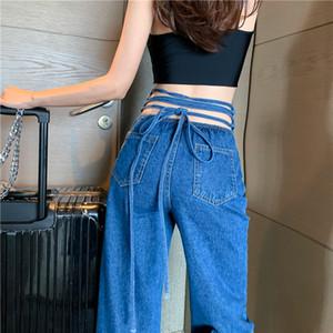 Сыпучие Straight высокой талией Streetwear Lace-Up Wrap тетива Sexy Denim Pant женщин Мода Простые повседневные джинсы брючные