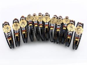 DHL livre 12 constelações Charm Bracelet Pulseira couro do couro genuíno de corda de jóias para as mulheres Homens Presente especial