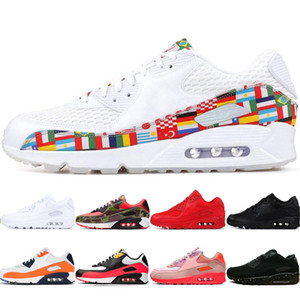 nike air max airmax 90 90s shoes Yeni erkek üçlü siyah üçlü beyaz Turuncu Kamuflaj Camowabb ayakkabısını CHAUSSURES uluslararası bayrak paketi Camowabb CNY kızılötesi koşu