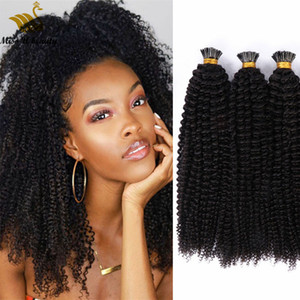 Pre-bonded Hair Extensions Afro Curly Kinky Curl I tip Human Hair Extensions 100strands per Bundle Natural Black Color Cuticle Aligned