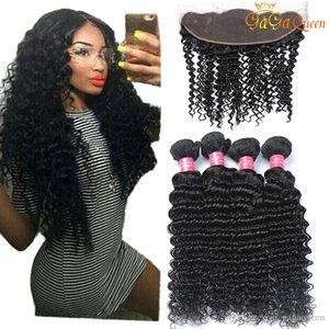 Malaysian Deep Wave Hair Bundles With 4x13 Lace Closure Ear to Ear Lace Frontal Malaysian Deep Wave Human Hair Weave Bundles