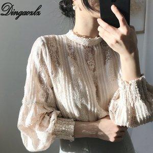 Dingaozlz Yeni Kore moda Kanca Çiçek Hollow dışarı Dantel gömlek Vintage Uzun kollu Kadınlar bluz blusa Tops