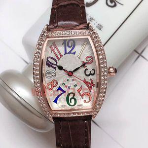 Amante Womens do Mens Rose Gold icedout Watch Color Sonhos Dimonds calendário completo Quarz Movimento Luxue relógios pulseira de couro de pulso