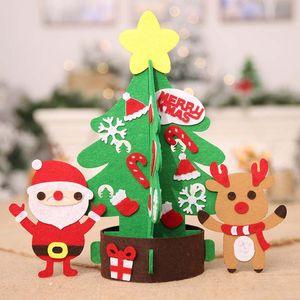 Stereo crianças Xmas Tree 3D criativa DIY Felt Árvore de Natal com Wall porta Detalhes da porta de Ano Novo Decoração Hanging Xmas