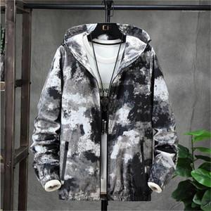 Arıların Kontrast Renk Erkek Palto Kamuflaj Sonbahar Erkek ceketler Kapşonlu Uzun Kollu Casual Düz Gevşek Kış Erkek Designer yazdır