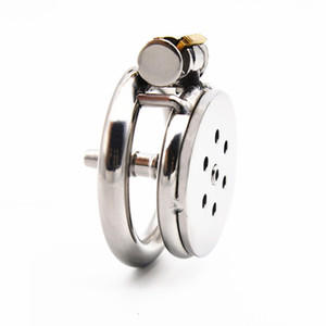 Stainless Steel Male Chastity Cage with Penis Plug Extreme Short Cock Cages Penis Lock Device 45mm Ring Dropshipping for Sex Shop XCXA399