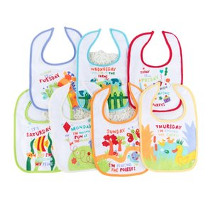 7 Piece Lot Bibs Newborn Cotton 2 layers back Waterproof bib Infants Saliva Cartoon Baby Feeding Accessories Y200710