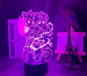 3D Lamba Anime Gon ve Killua Figürü Nightlight Çocuk Odası Dekor Için Işık Hayranları Hediye Çocuklar Led Gece Lambası