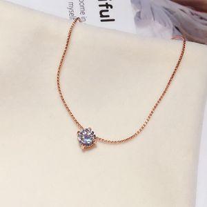 Delicate Individual CZ Stone Pendant Colar Rose Gold Cor Cubic Cadeia Colar Zircon Mulheres Clavícula Choker