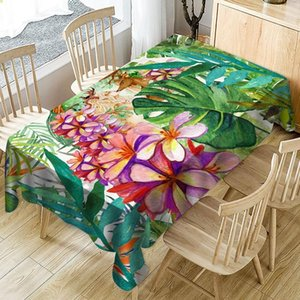 7 Size Green Waterproof Tablecloth Tropical Plant Flower Oilproof Table Cover Rectangular Table Cloth Watercolor Art Decoration T200707