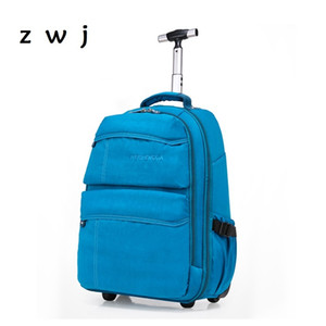 Navy blue School backpack men and women hand luggage travel trolley backpack CX200711