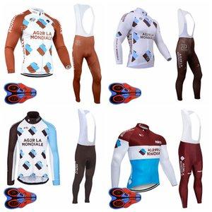AG2R équipe hommes pantalon à manches longues Maillot cyclisme 9D bavoir Définit la course sur route de vélos Quick Dry Vêtements sportwear S080401