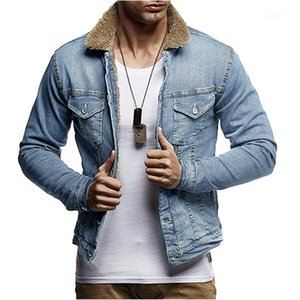 Sleeve Man Coats Casual Stand Collar Winter Autumn Homme Outerwears Denim Mens Jackets Thick Streetstyle Slim Long