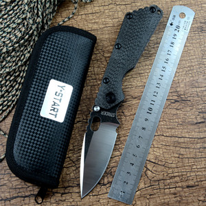 SMF Strider Tactical Pocket Knife D2 Folding Blade Ball Bearing Carbon Fiber Flame Titanium Handle for Outdoor Tactical Searching Hunting