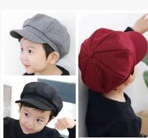 Korean new children's sun beret octagonal hat hat male and female baby octagonal cap woolen woolen baby beret