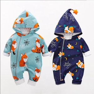 INS Fox Baby Clothes Printed Infant Boy Hooded Romper Cotton Newborn Girl Jumpsuits Long Sleeve Children Outfit Boutique Baby Clothing 4848