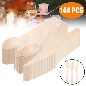144pcs / set Set couverts jetables en bois Forks Cuiller Lames Bonbonnières Ustensiles Accueil Art de la table Party Supplies pour 48 personnes