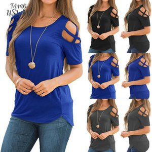 New Fashion Womens Cold Shoulder T Shirt Solid Ladies Summer Casual Short Sleeve Tops Drop Shipping Good Quality