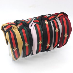 Cute Knot Headbands for Women Hair Hoops Wide Stripe Headband with Bee Animal Cross Knot Hair Band with Cloth Wrapped