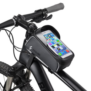 Bike Phone Front Frame Bag Case Waterproof Bicycle Top Tube Cycling Phone Mount Pack with Touch Screen Sun Visor Large Capacity