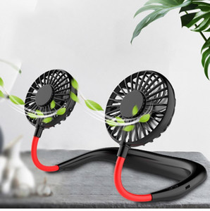 Mini Portable Hanging Neckband Fan USB Rechargeable Double Fans Air Cooler Conditioner Colorful Aroma Electric Desk Fan For Room