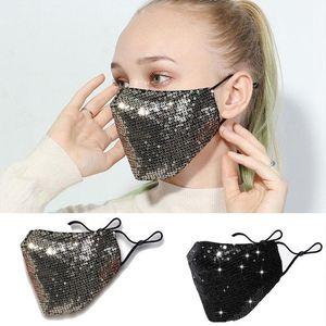 Fashion Bling Mask 3D Washable Reusable Masks PM2.5 Face Shield Sequins Shiny Face Cover Mount Masks Anti-dust Shield EEA1806