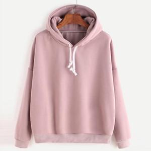 Long-sleeved Solid Color Hooded Top Sweatshirt Girl School Autumn Winter Warm Sweatshirt Hoodie Harajuku Clothes For Girl