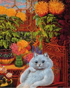 Louis Wain Psychedelic gato de la flor de la pintura de Albert Hoffman decoración de la pared Artesanías / impresión de HD pintura al óleo sobre lienzo de arte pared de la lona 200719