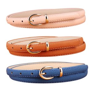 2020 Fashion Candy Color PU Leather Thin Belt for Women Gold Metal Pin Buckle Simple Waist Belts for Ladies Dress Jeans Ceinture