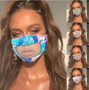 25style Transparente Máscara Lip PVC flroal Imprimir Máscara protectora anti-nevoeiro Escudo Deaf Mute Máscaras Designer Visível Anti Poeira cobrir a boca GGA3584-16