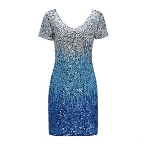 Women's cocktail party bright shiny short-sleeved mid-factory tight stretch Cocktail sequins dress sequins party nightclub dress