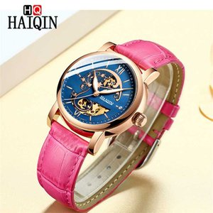 Automatic Mechanical HAIQIN Ladies Watch Luxury Leather Hollow Wristwatch Top Brand Fashion Sports Waterproof Clock Montre Femme