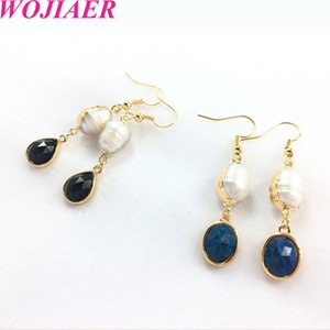 WOJIAER Freshwater Pearl Dangle Earrings Gold Color Natural Gem Stone Pendants Earring for Women Girl Fashion Jewelry DBD912