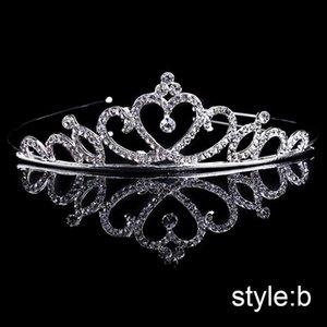 FORSEVEN Mini Tiaras coronas linda joyería de plata del color del pelo del partido de boda cristal de la princesa Diadema Diademas para niñas novia Mujeres