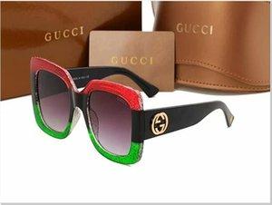 Ausgezeichnete Qualität Fashion Designer-Sonnenbrillen Halbrand Sonnenbrillen der Frauen der Männer Gold Frame Grün G15 GUCCI Glaslinsen