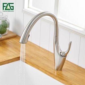 FLG maniglione Out Cucina Rubinetti singola Kitchen Sink Tap 360 Brass rotazione rubinetto nichel spazzolato miscelatore della cucina 1066 33N