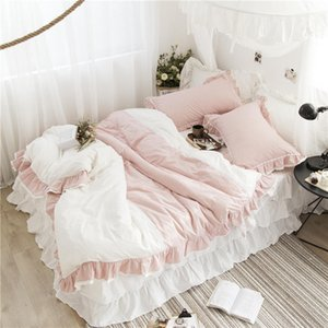 Pink girl heart princess style cotton washed cotton four-piece bed skirt type ruffled bedding