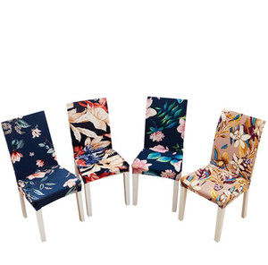 Spandex Elastic Flower Feather Pattern Dining Chair Slipcover Modern Removable Anti-dirty Kitchen Seat Case Stretch Chair Cover DHF44