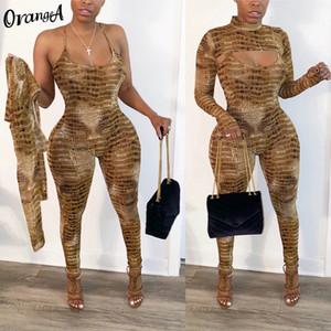 Orangea donne serpentina o-collo pieno raccolto manica top cavezza tuta idoneità elastico del hight 2020 moda a due pezzi abiti T200730 casuale