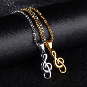 14x30mm G Clef ожерелье Music Note Скрипичный ключ ожерелье Музыка Символ Стальной оркестр из нержавеющей