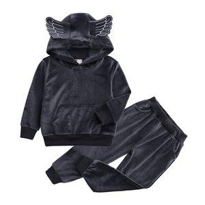 Kış Çocuk Giyim Kız Giyim Isınma Fall Baby Boy Melek Tasarım Uzun Kollu Kapşonlu + pantolon 2adet Yumuşak Spor Suits ayarlar