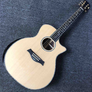 Ebony Fingerboard 41 Inch Acoustic Electric Guitar with Arm Rest Real Abalone AAAA Solid Spruce Top Cutaway Acoustic Guitar