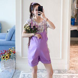 6101# Cotton Maternity Bib Shorts + Print Tees Summer Short Pants for Pregnant Women Korean Fashion Pregnancy Jumpsuits Overalls