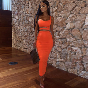 2020 New 2 Layers Long Skirts Two Piece Set Summer Party Wear Women Two Piece Outfits Sexy Sleeveless Plus Size 2 Piece Skirt Set