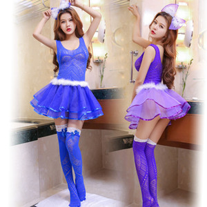 Hot Sexy mini dress Lady Princess dress bow hair clip suit set Backless babydoll Cute night club girl porn erotic costumes