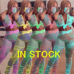 3PCS / fixe Tie-dye Imprimer Femmes Survêtement Sexy Bow Tops T-shirt Crop + jabot Pantalons Tenues avec masque facial 3 Piece Suit Mode Sport D71613