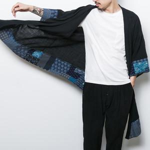 Yinos Coton Lin Chinses traditionnel Tang long Costume Hommes Manteau Geometry Patch Homme Outwear Été Homme Trench Été 2020