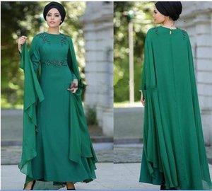 Muslim Arabic 2020 New Dark Green Chiffon Jewel Prom Dresses with Cape Beaded Long Sleeve Kaftan Iraq Special Occasion Evening Dress