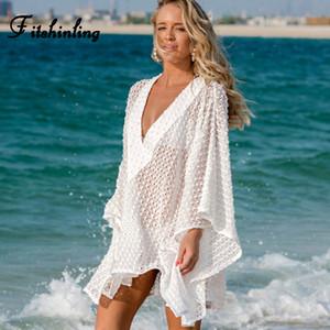 Fitshinling tiefer V-Ausschnitt Boho Spitze Strandkleid Bademoden-Flügelhülse übergroße lose weiße Sommerkleider Frauen schierer pareos